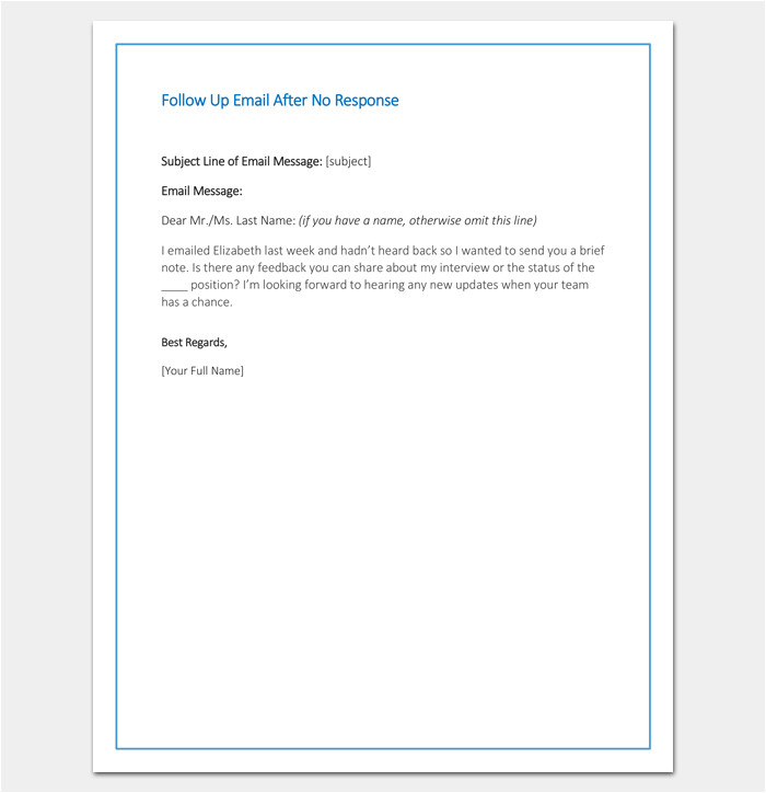 No Response Email Template Follow Up Letter Template 10 formats Samples Examples