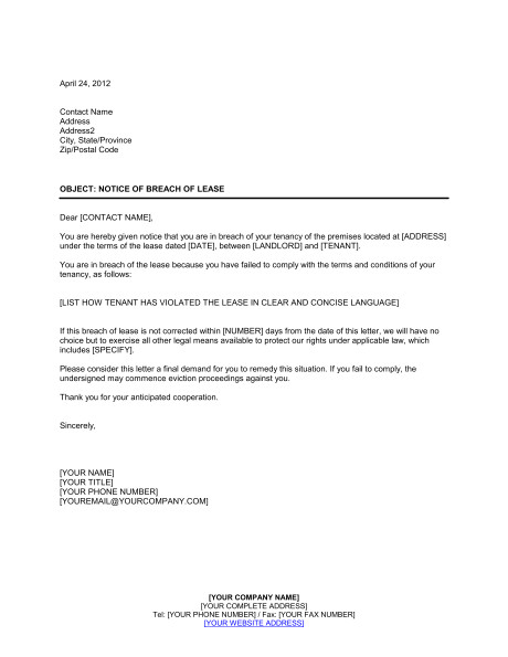 Notice Of Breach Of Contract Template Notice Of Breach Of Lease Template Sample form