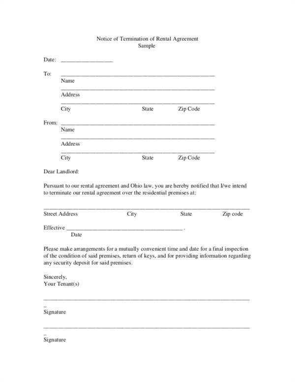 termination contract templates
