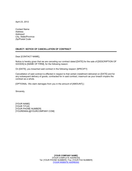 Notice Of Cancellation Of Contract Template Notice Of Cancellation Of Contract Template Word Pdf