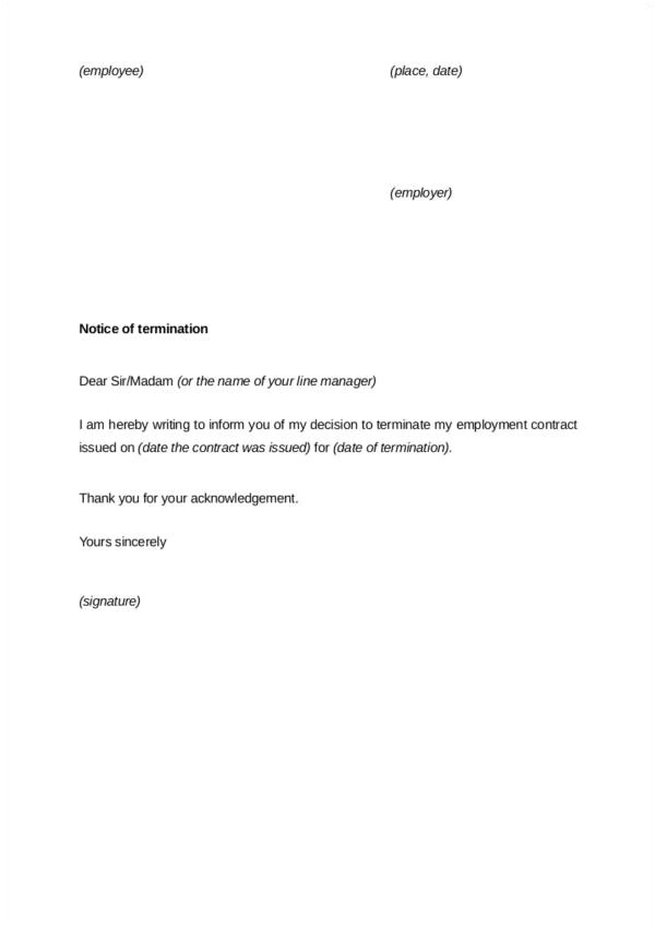 contract termination letter examples