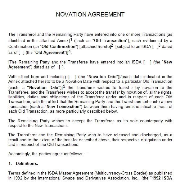 sample novation agreement