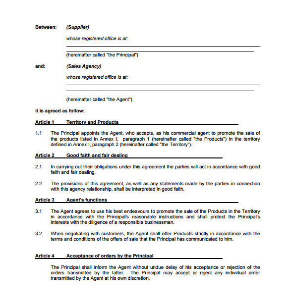 agency contract template