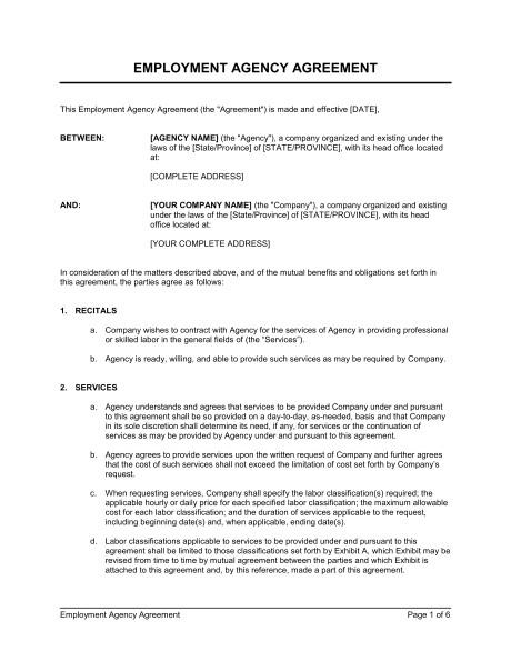 employment agency agreement d157