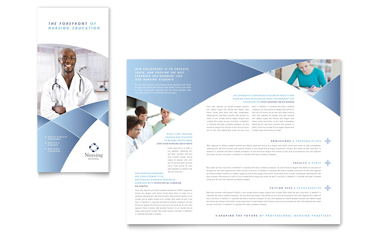 nursing school hospital tri fold brochure templates et0082301d