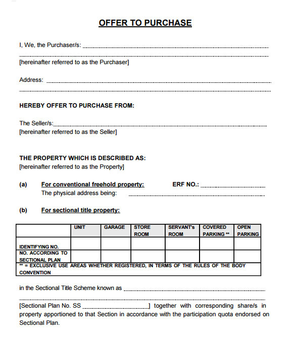 offer to purchase real estate form