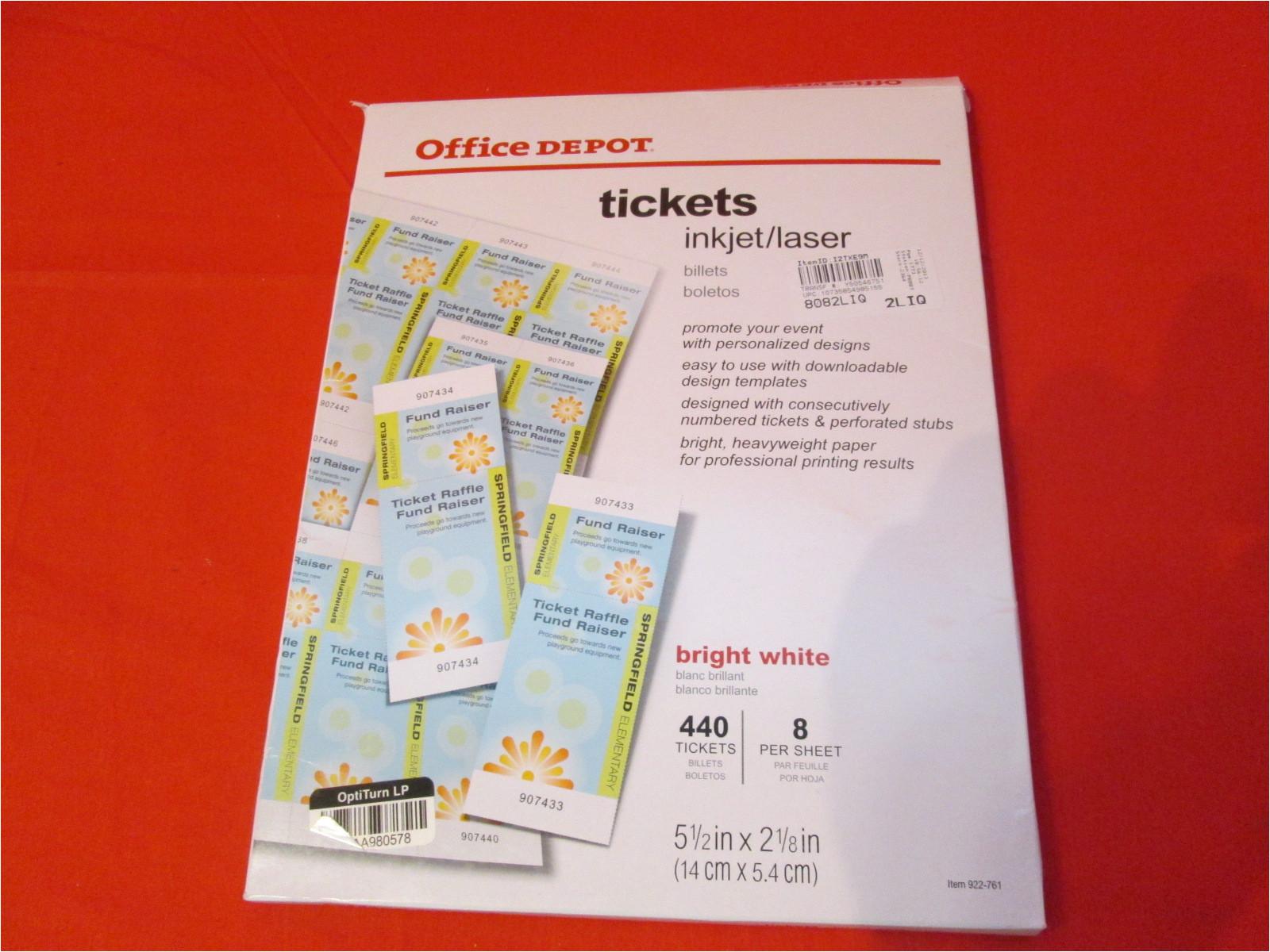 office depot laser inkjet tickets pack of 440 tickets