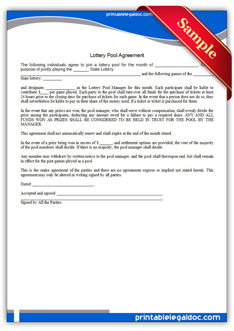 lottery pool agreement