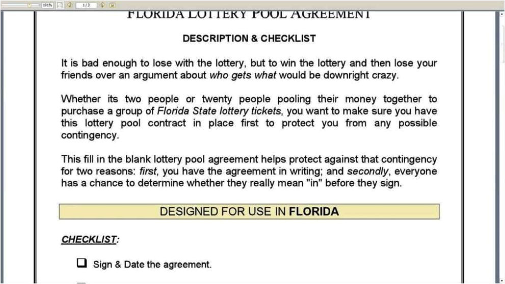 office lottery pool contract template