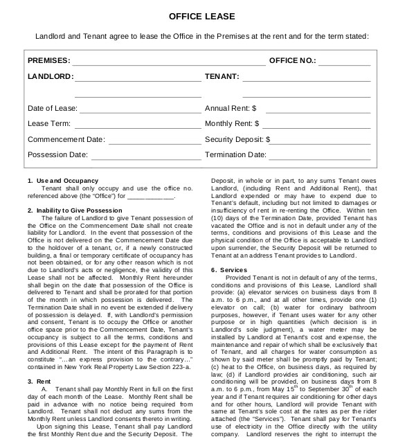 Office Rental Contract Template Lease Agreement Template 15 Free Word Pdf Documents