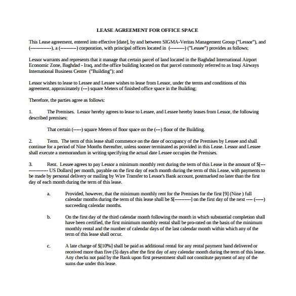 sample office lease agreement