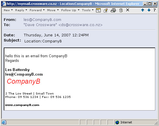 selecting a different email signature based on the senders email domain