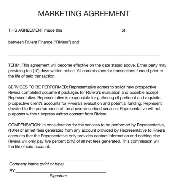 Online Marketing Contract Template Marketing Agreement Template 30 Download Free Documents