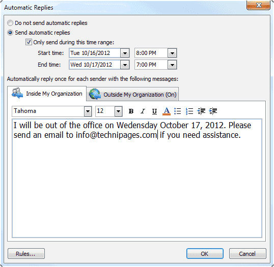 outlook set out of office message