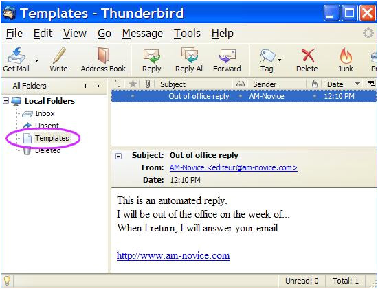 out of office thunderbird