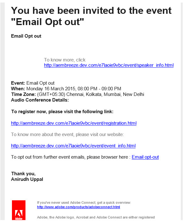 Opt Out Email Template Anirudh Adobe Connect Support Blog