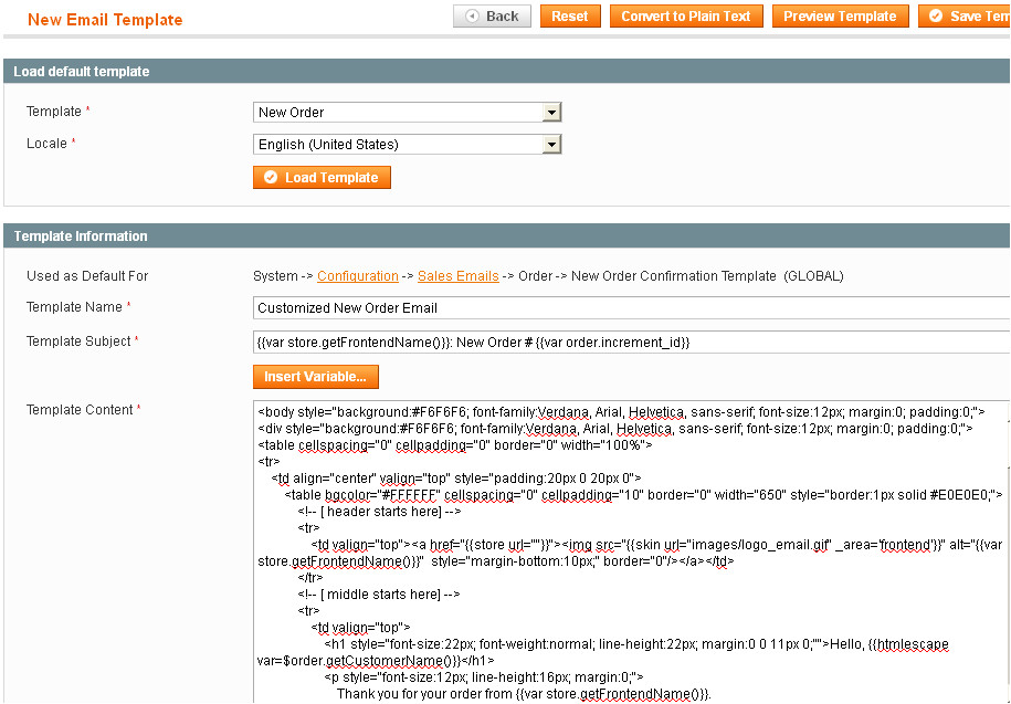 customize new order email template in magento