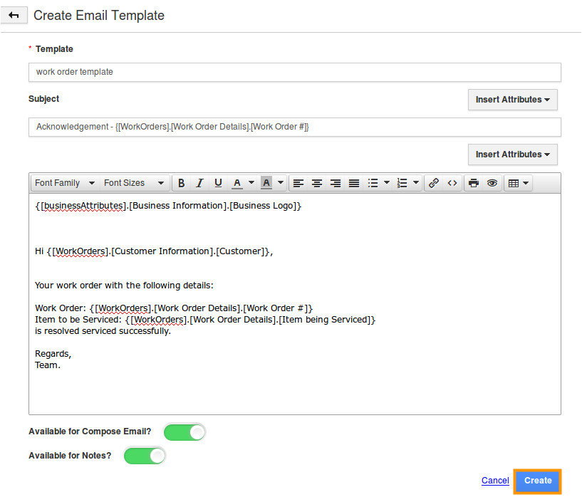 how do i customize email templates in work orders app