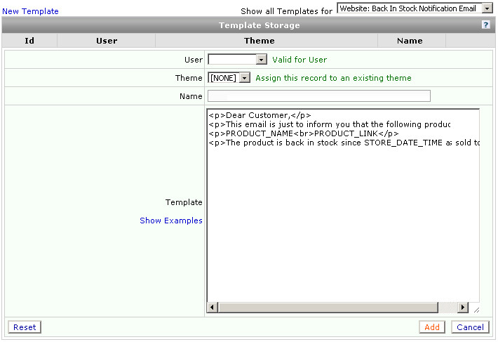 hlp template storage back in stock notification email