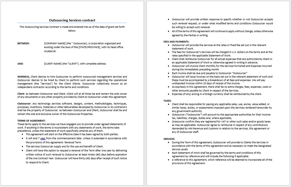 Outsource Contract Template Outsourcing Services Contract Template Microsoft Word
