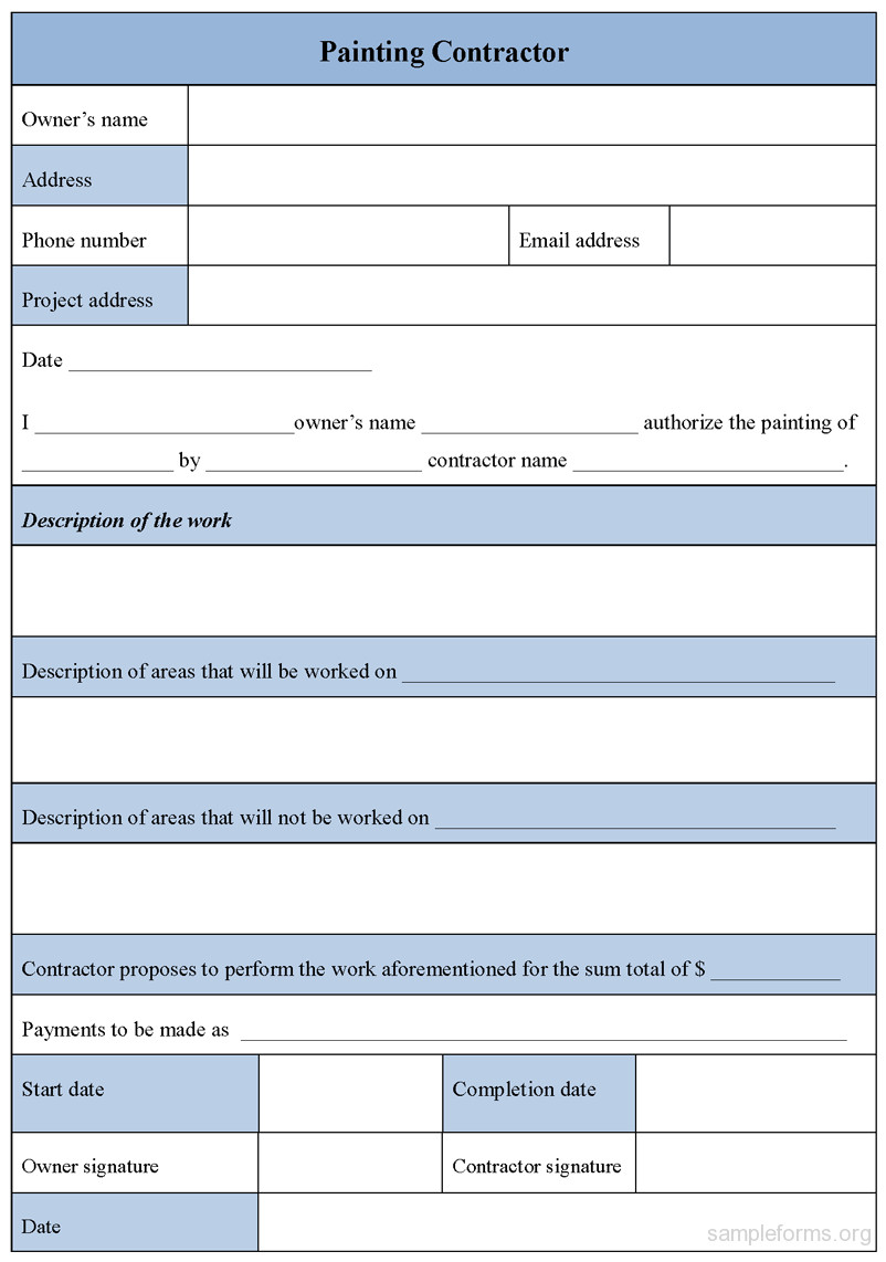 painting contractor form