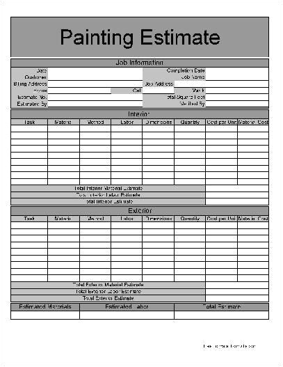 Painting Contract Template Free Download Printable Job Estimate forms Here is A Preview Of the