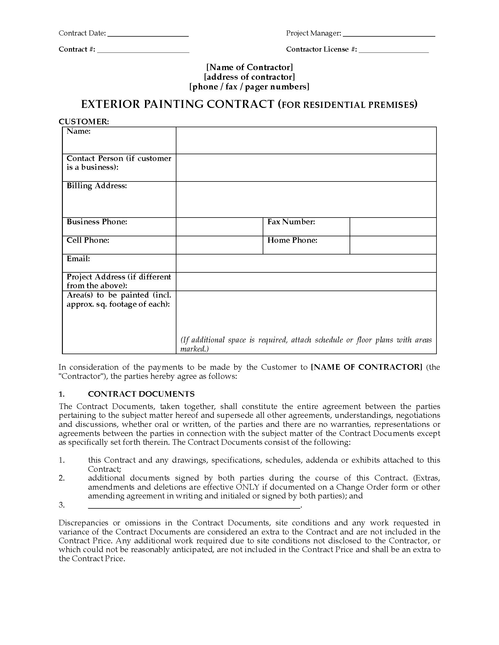 exterior painting contract residential