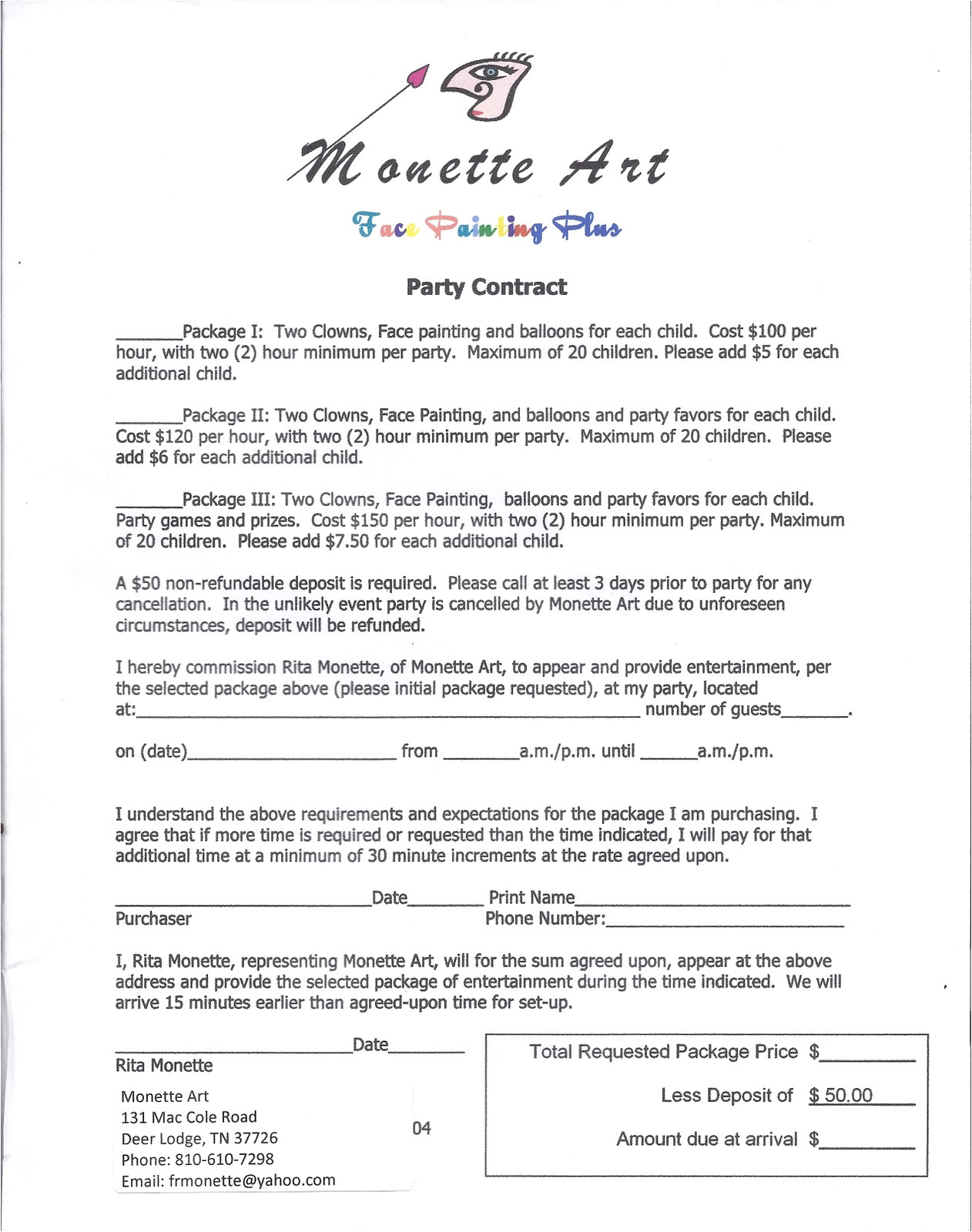Painting Contracts Templates Face Painting Plus Show Schedule and Reviews Party