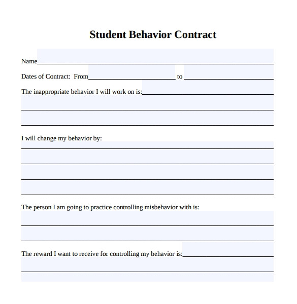 behaviour contract template