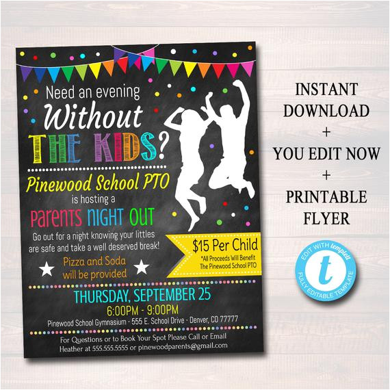 editable parents night out flyer
