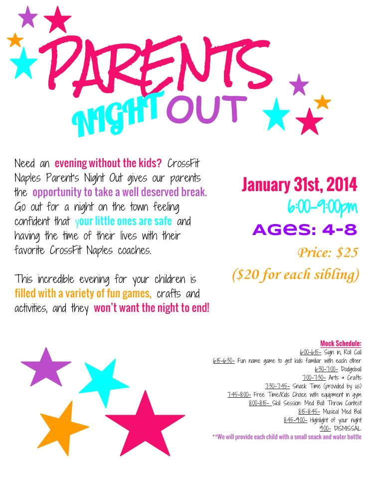 Parents Night Out Flyer Template Free Parents Night Out Naples Strength Conditioning