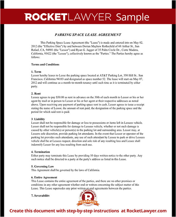 parking space lease agreement rl