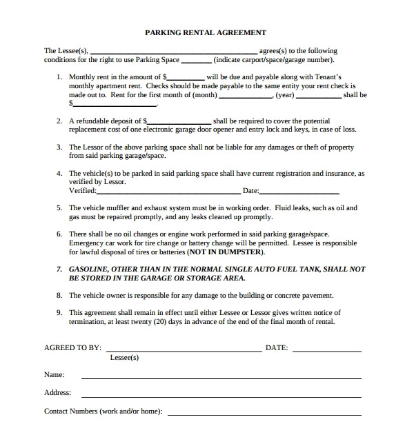 parking agreement template