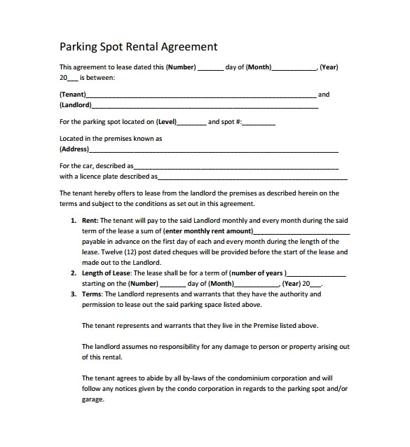 Parking Rental Contract Template Sample Parking Lease Template 9 Free Documents Download