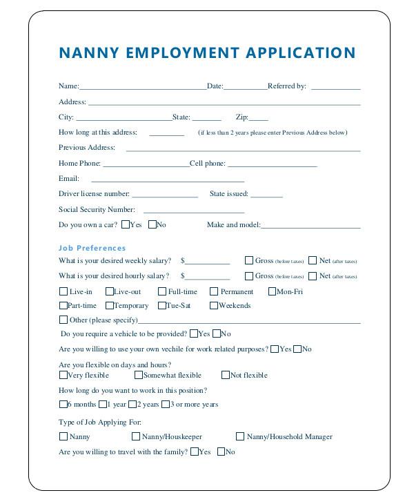 nanny application template