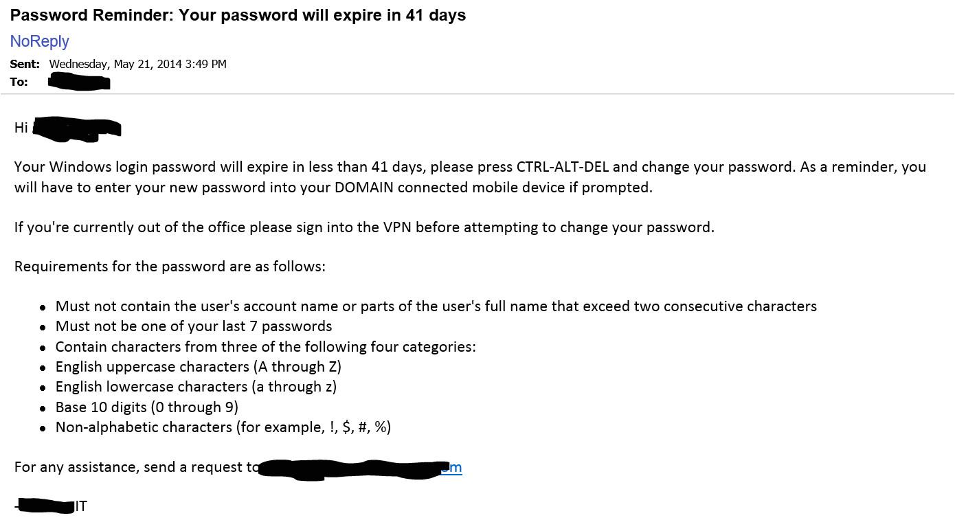 active directory password expiration