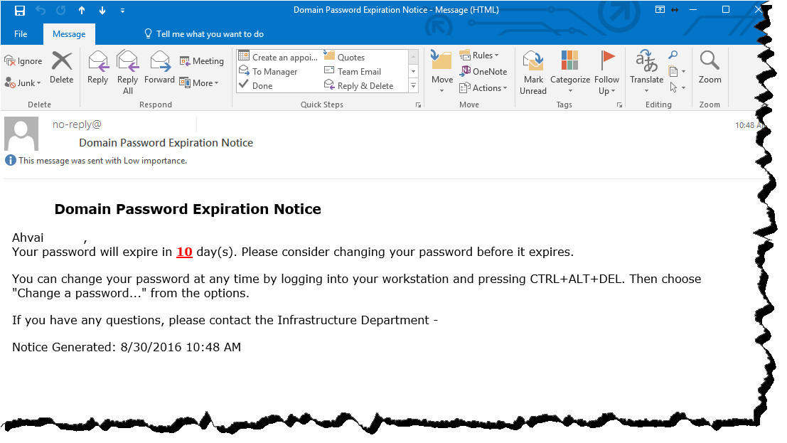 notify users of password expiration email