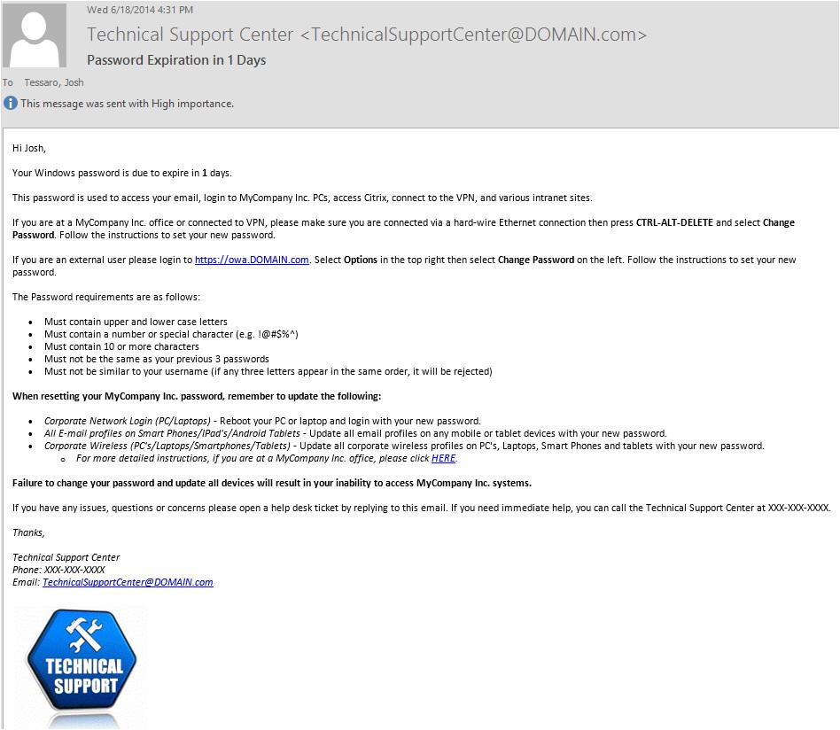 Password Expiration Notification Email Template Password Expiration Notification Email