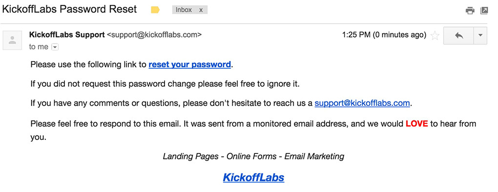 password reset template design and best
