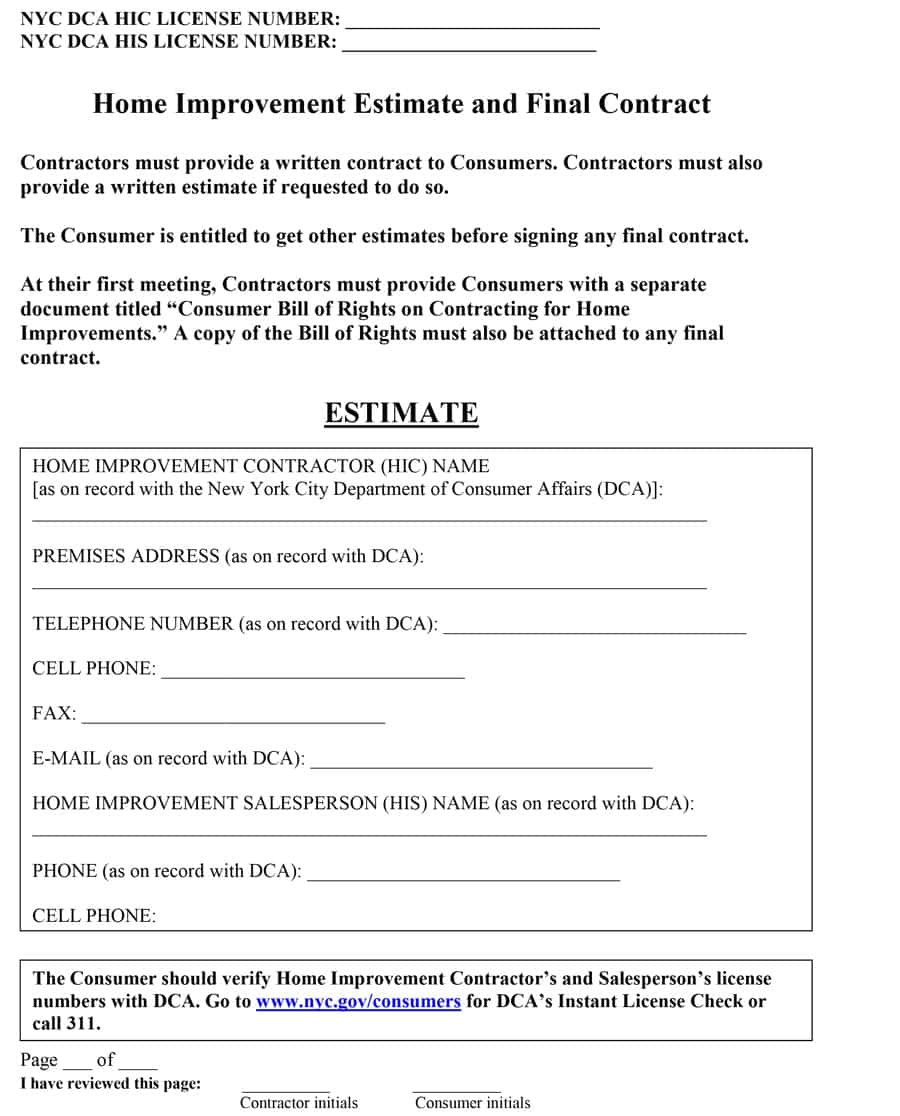 Paving Contract Templates 44 Free Estimate Template forms Construction Repair