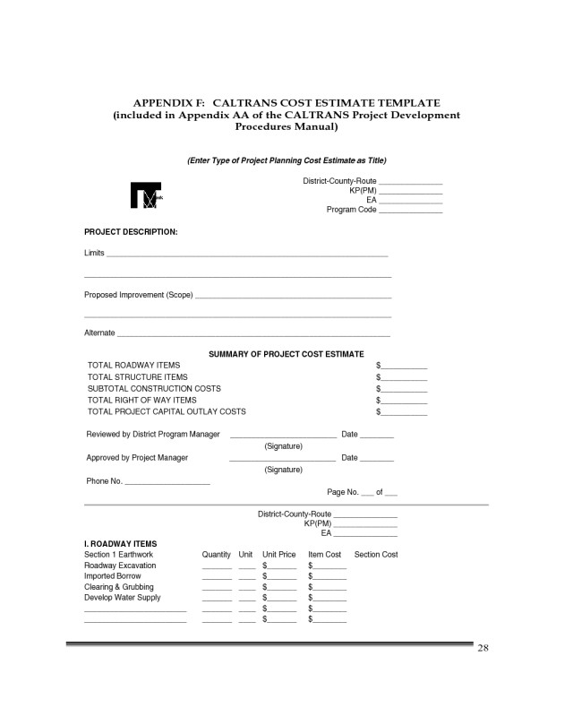 Paving Contract Templates Construction Cost Estimate Template California Edit