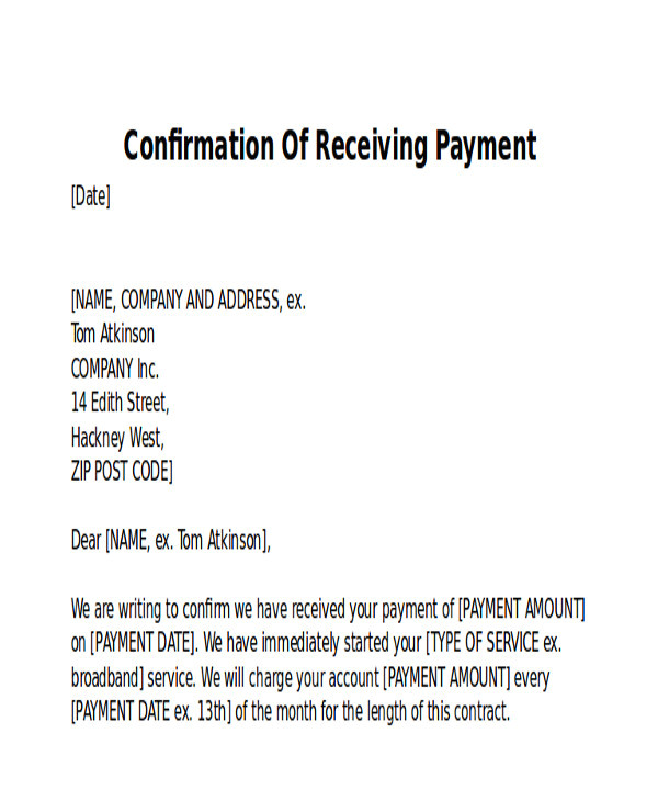 receipt of payment letter