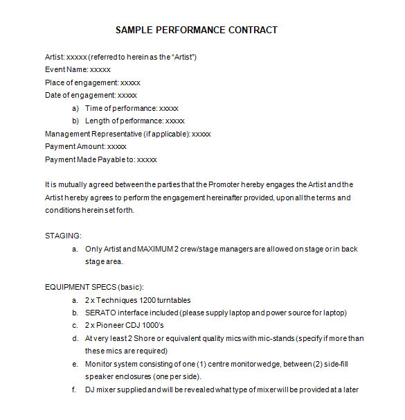 Performance Contracts Templates 15 Performance Contract Templates Word Pdf Google