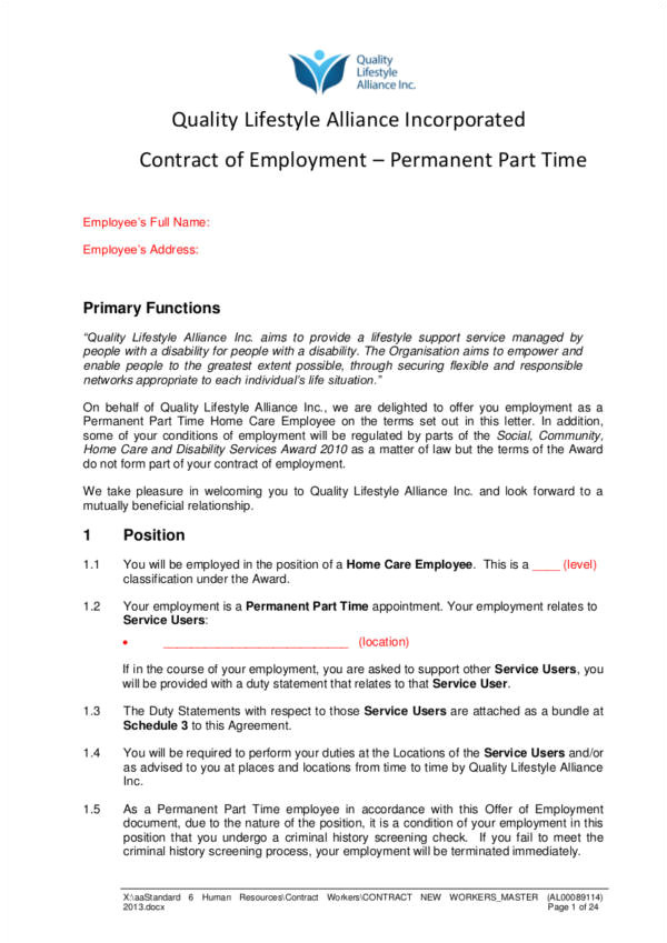 Permanent Contract Of Employment Template 20 Types Of Employment Contracts Samples In Pdf Word