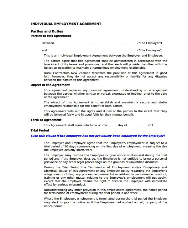 Permanent Contract Of Employment Template Sample Individual Employment Agreement 9 Documents In