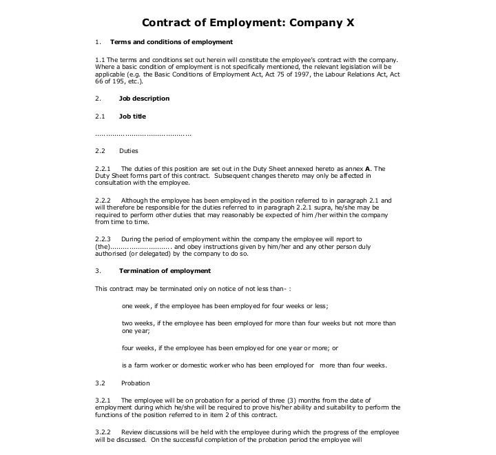 employment contracts for restaurants
