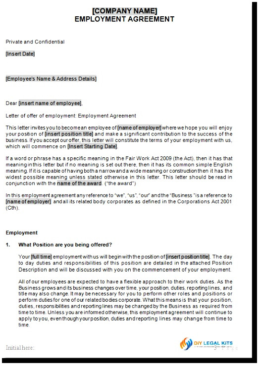 permanent contract of employment template