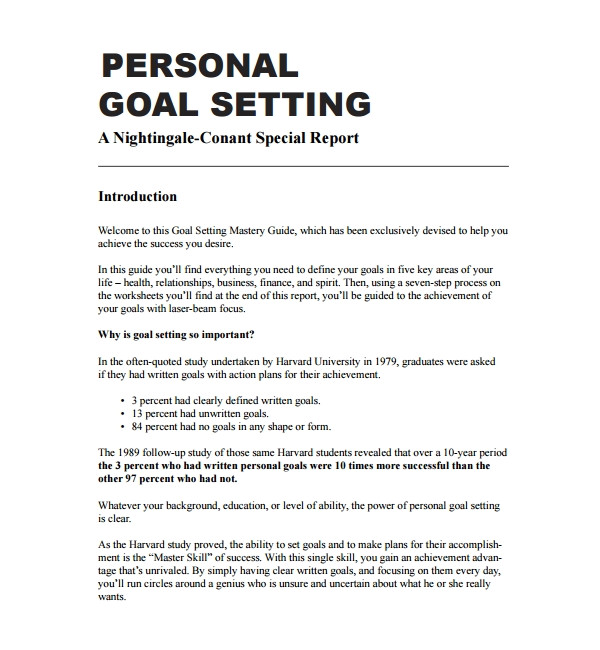 Personal Goal Contract Template 13 Sample Goal Setting Templates Pdf Word