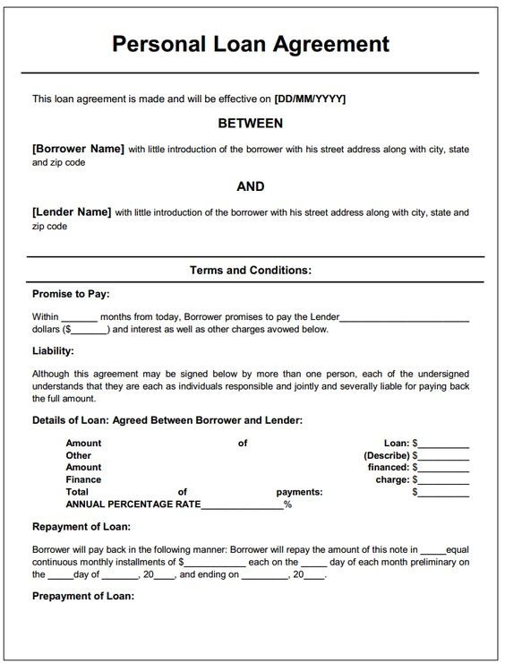 Personal Loan Repayment Contract Template Personal Loan Agreement Printable Agreements Private