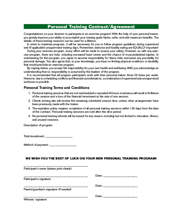 training agreement contract